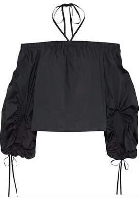 Rebecca Minkoff Cold-Shoulder Cotton-Poplin Top