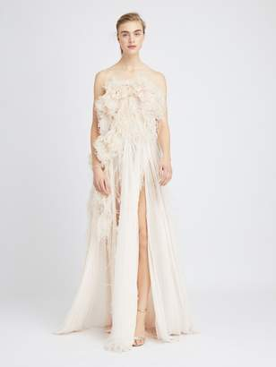 Oscar de la Renta Feather-Embroidered Silk-Chiffon Gown
