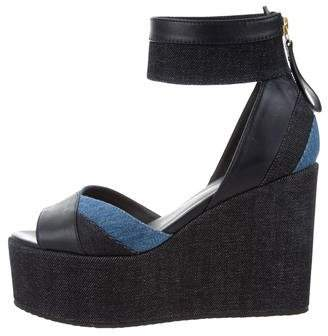 Pierre Hardy Denim Ankle Strap Wedges