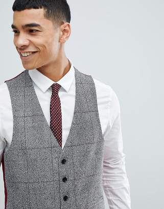 Moss Bros skinny vest in check