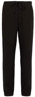 120% Lino Mid Rise Linen Trousers - Mens - Black