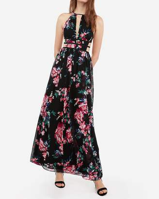 1c45c685c20 Express Floral Print Strappy Side Plunge Cut-Out Maxi Dress