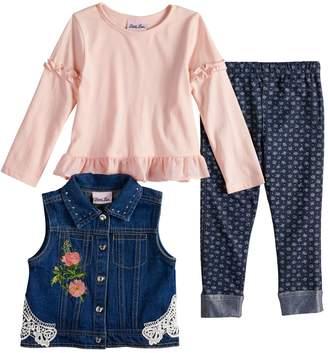 Little Lass Toddler Girl Floral Denim Vest, Top & Leggings Set