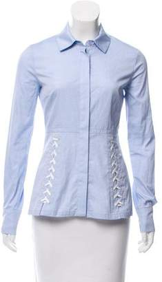 Yigal Azrouel Lace-Up Button-Up Top w/ Tags