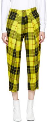 Ashley Williams Yellow Pleated Wool Tartan Trousers
