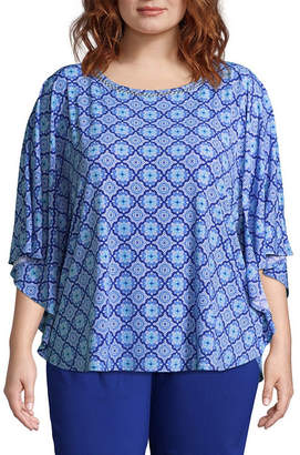 Lark Lane Capri Cool Printed Butterfly Blouse - Plus