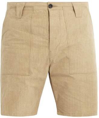 THE LOST EXPLORER Chur mid-rise ripstop-stitch cotton shorts