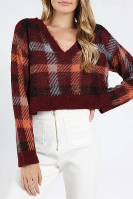Honey Punch Burgundy Plaid Sweater