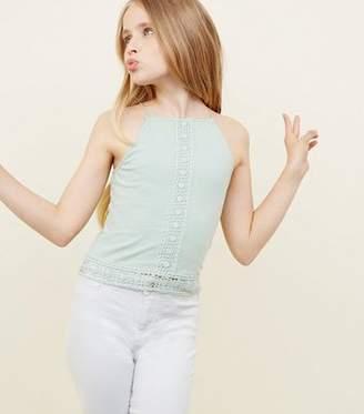 New Look Girls Mint Green Crochet High Neck Cami