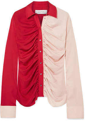 Marques Almeida Marques' Almeida - Ruched Two-tone Voile Shirt - Red
