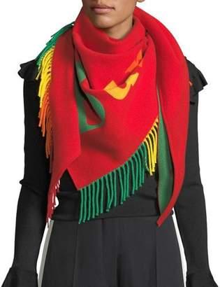 Burberry Rainbow Logo Scarf w/ Fringe Trim