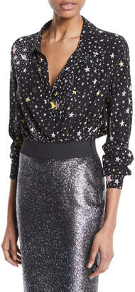 Moschino Star-Print Long-Sleeve Bodysuit
