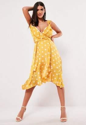 Missguided Yellow Polka Dot Frill Midi Dress