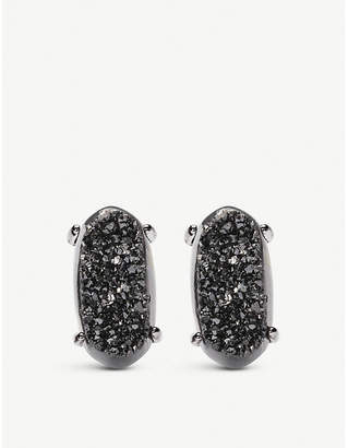 Kendra Scott Betty gunmetal-plated and black drusy earrings
