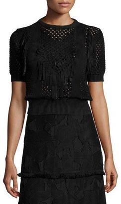 Elie Tahari Lena Crochet Blouse Sweater $348 thestylecure.com