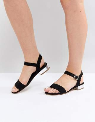 Head Over Heels by Dune Two Part Low Heel Sandal in Black