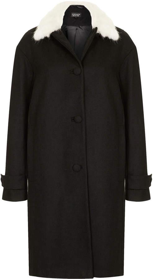 Topshop 60s Fur Collar Coat