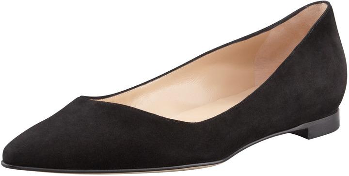 Manolo Blahnik BB Suede Pointed-Toe Flat, Black