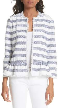 Kate Spade Stripe Fringe Peplum Tweed Jacket
