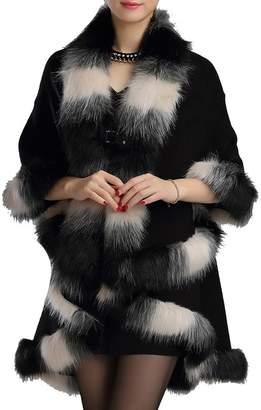 Helan Apparel Helan Women's Warm Luxury Style Faux Fur Double Layers Cloak Cape Coat