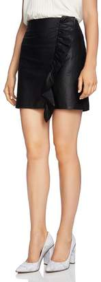 1 STATE 1.STATE Ruffle-Trim Faux Leather Skirt