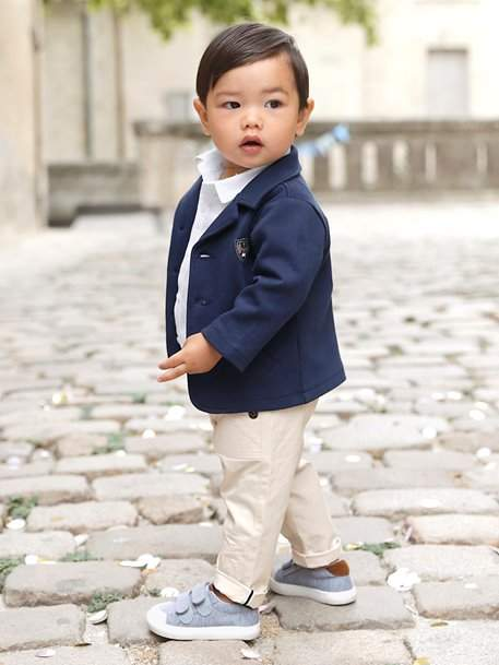 Baby Boys' Jacket + Shirt + Trouser Outfit - blue dark solid