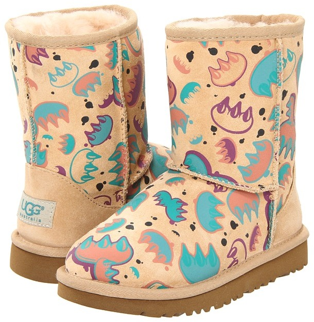 UGG Kids - Classic Short Graffiti (Toddler) (Claw Sand/Apricot Multi) - Footwear