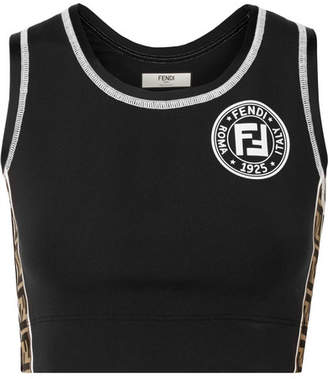 Fendi Cutout Jacquard-trimmed Stretch Sports Bra - Black