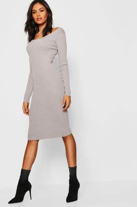 boohoo Rib Knit Scoop Neck Midi Jumper Dress