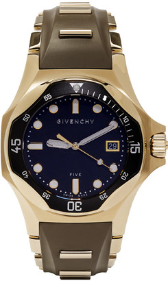 Givenchy Brown & Gold Five Shark Watch $1,550 thestylecure.com