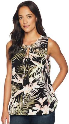 CeCe Soft Palms All Over Sleeveless Tie Blouse Women's Sleeveless