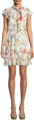 Alice + Olivia Leslie Tie-Neck Floral-Print Silk Ruffle Dress