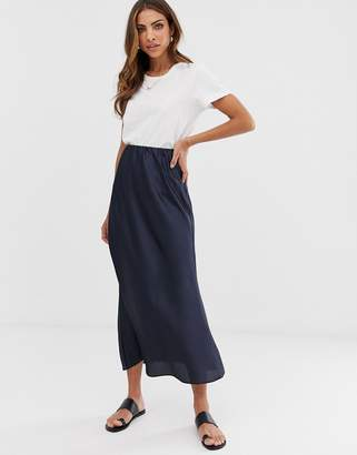 Asos Design DESIGN bias cut satin slip midi skirt