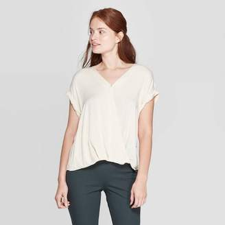 A New Day Women's Short Sleeve Deep V-Neck Blouse Cream