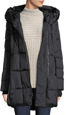 French Connection Quilted Hooded Zip-Up Puffer Coat