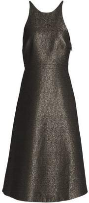 Halston Bow-Embellished Metallic Crepe Dress