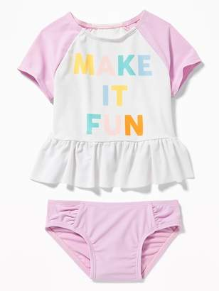 "Old Navy ""Make It Fun"" Rashguard & Swim Bottoms Set for Toddler Girls"