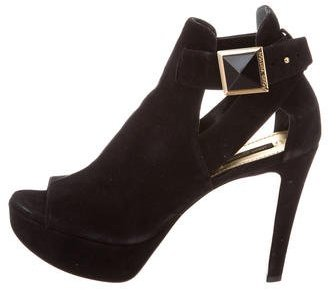 Louis Vuitton Peep-Toe Suede Booties