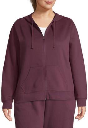 ST. JOHN'S BAY SJB ACTIVE Active Long Sleeve Fleece Zip Up Hoodie - Plus