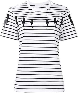 Neil Barrett striped thunderbolt T-shirt