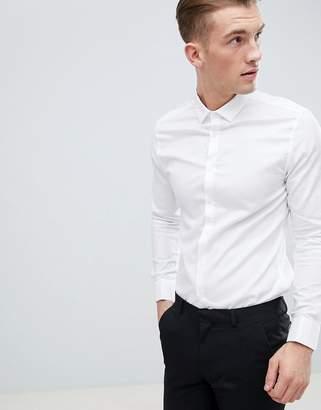 Asos DESIGN premium stretch slim royal oxford shirt with double cuff