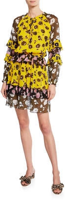 Diane von Furstenberg Haven Printed Silk Drop-Waist Dress