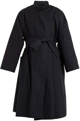 High-neck tie-waist cotton coat