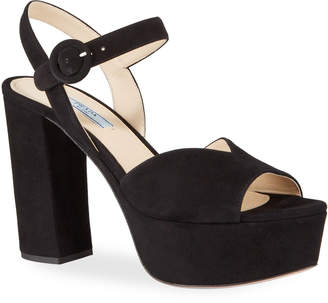 Prada 105mm Suede Platform Sandals