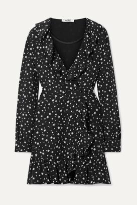 Miu Miu Ruffled Printed Silk-crepe Wrap Mini Dress - Black