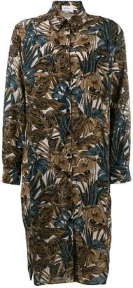 Salvatore Ferragamo leaves print shirt dress