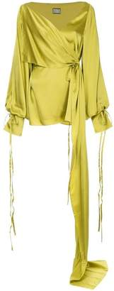SOLACE London draped design wrap blouse