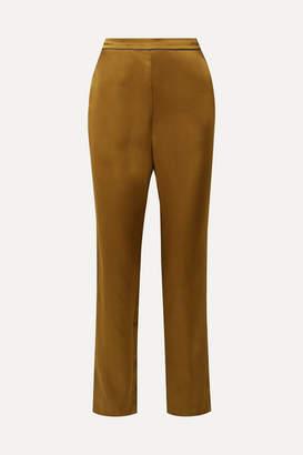Fleur Du Mal Silk-satin Wide-leg Pajama Pants - Gold