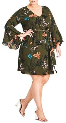 City Chic Jungle Floral Bell Sleeve Dress