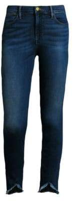 Frame Le High Skinny Frayed Triangle Hem Jeans